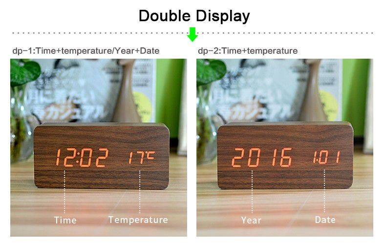 Bedroom Alarm Clock Display Digital Table Clock