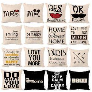 Decorative Throw Pillows Letters Graphic Printed Cushion
