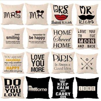 Decorative Throw Pillows Letters Graphic Printed Cushion 1