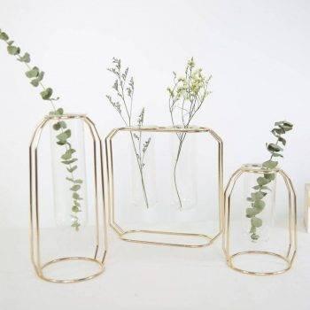 Clear Glass Vases Nordic Iron Art Vase Flowerpot 2