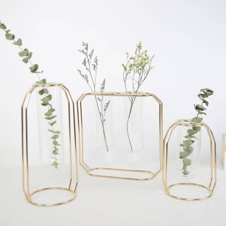 Clear Glass Vases Nordic Iron Art Vase Flowerpot