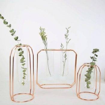 Clear Glass Vases Nordic Iron Art Vase Flowerpot 3