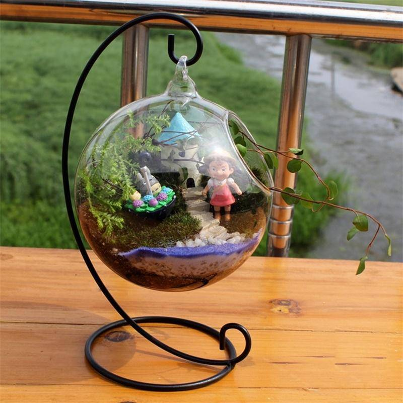 Clear Glass Vases Aquarium Hanging Home Decor Vase