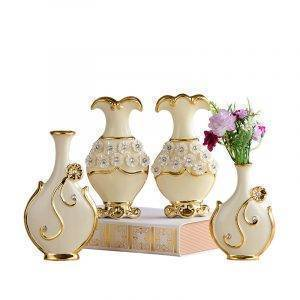 Europe Gold Plated Porcelain Vase Wedding Ceramic Flower Vase