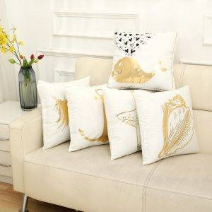 White Square Pillowcase Gilding Sofa Seat Cushion Cover