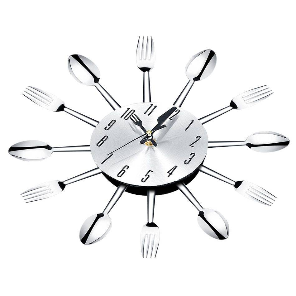 Modern Large Wall Clock Decor Spoon Fork Clock