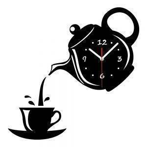 Black/Yellow/Red/Gray Acrylic Coffee Cup Teapot Wall Clock For Home Decor