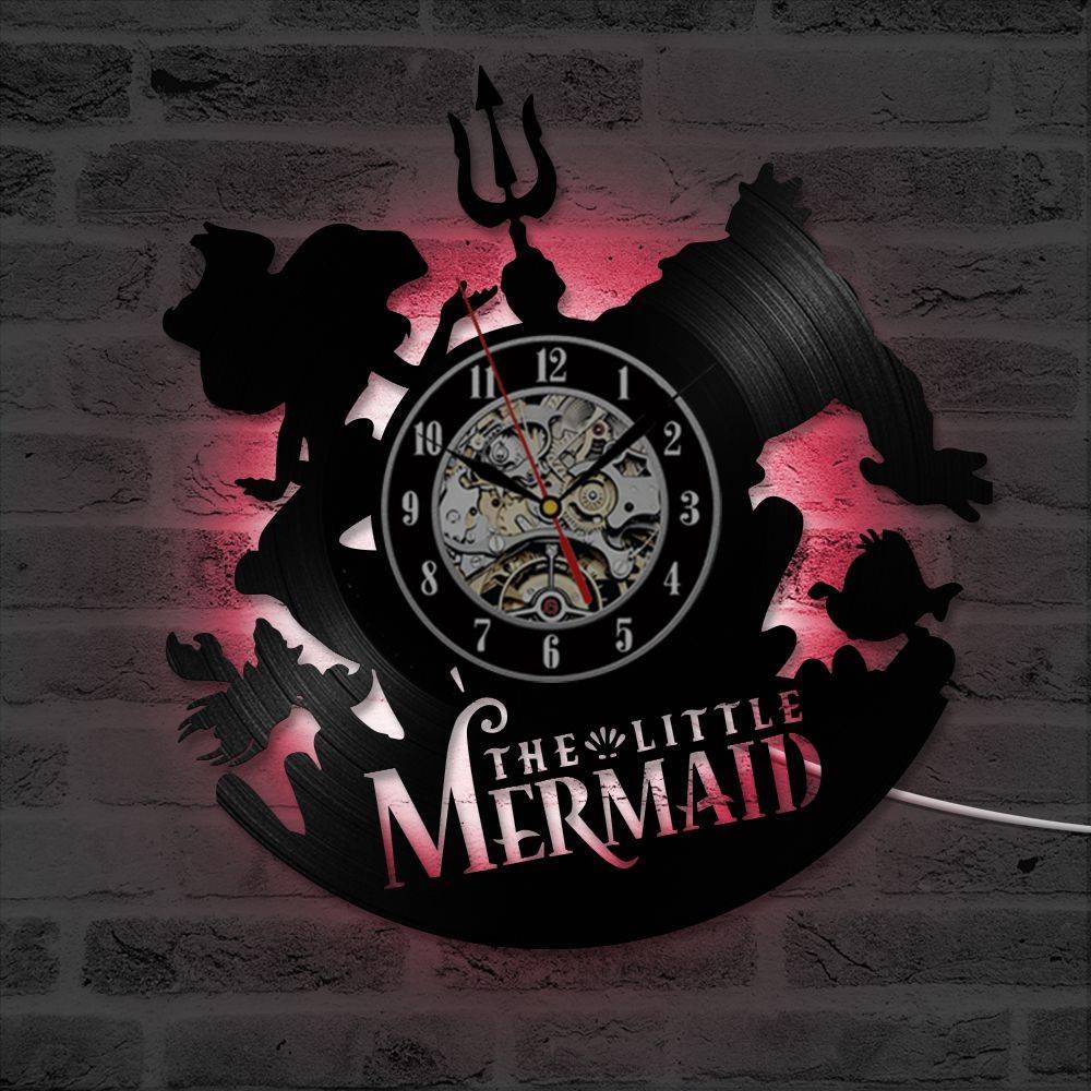 Mermaid Vintage Wall Clock Art Handmade LED Wall Clock