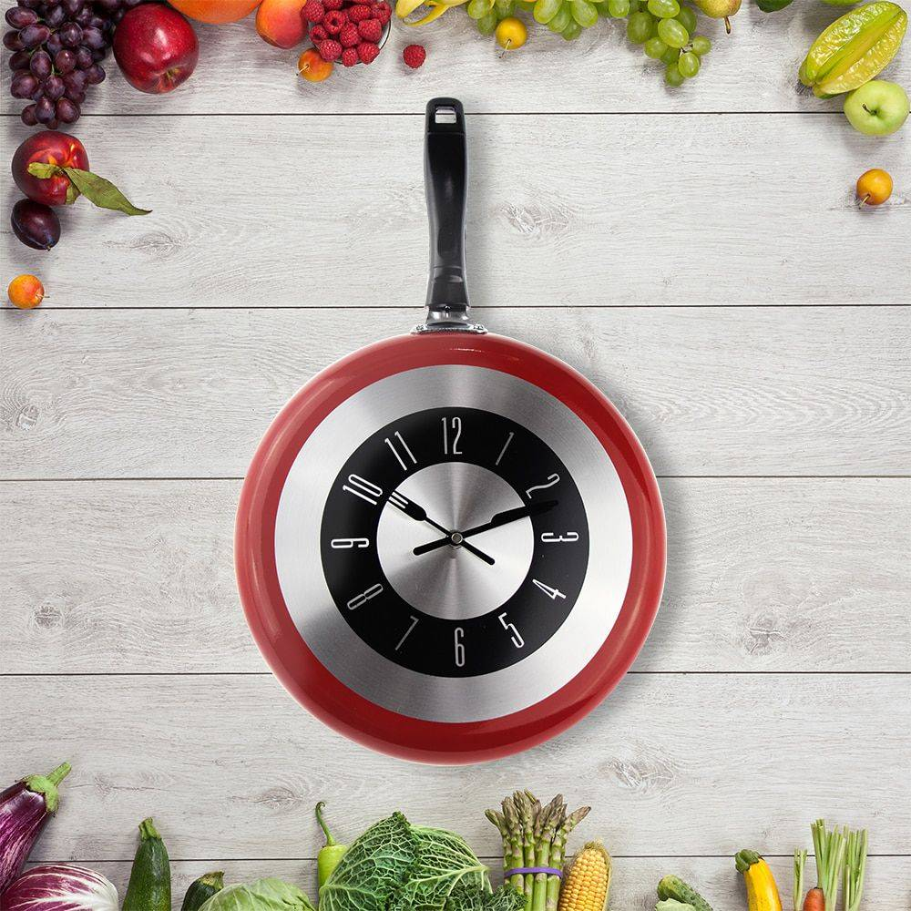 Metal Frying Pan Wall Clock Best Decoration Kitchen Clock