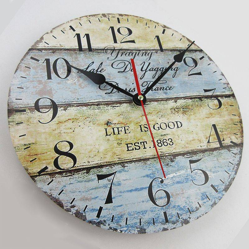 Wood Round Living Room Wall Clock European Vintage Clocks