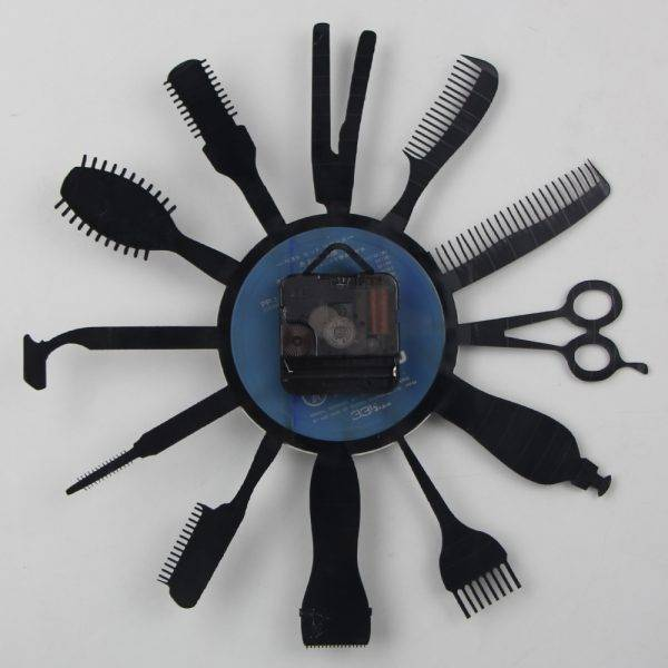 Hair Beauty Clock Decor Barber Shop Art Wall Clock