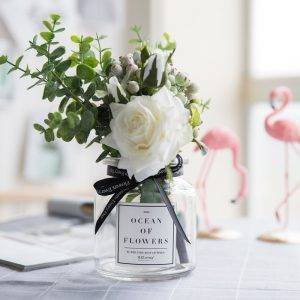 Artificial Flower Bouquet In Glass Vases