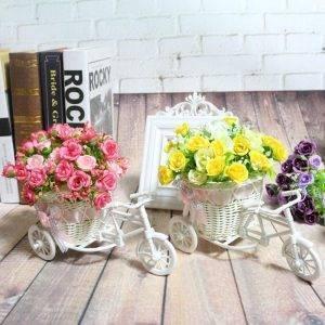 Rattan Tricycle Bike Flower Basket Office Vase Decoration