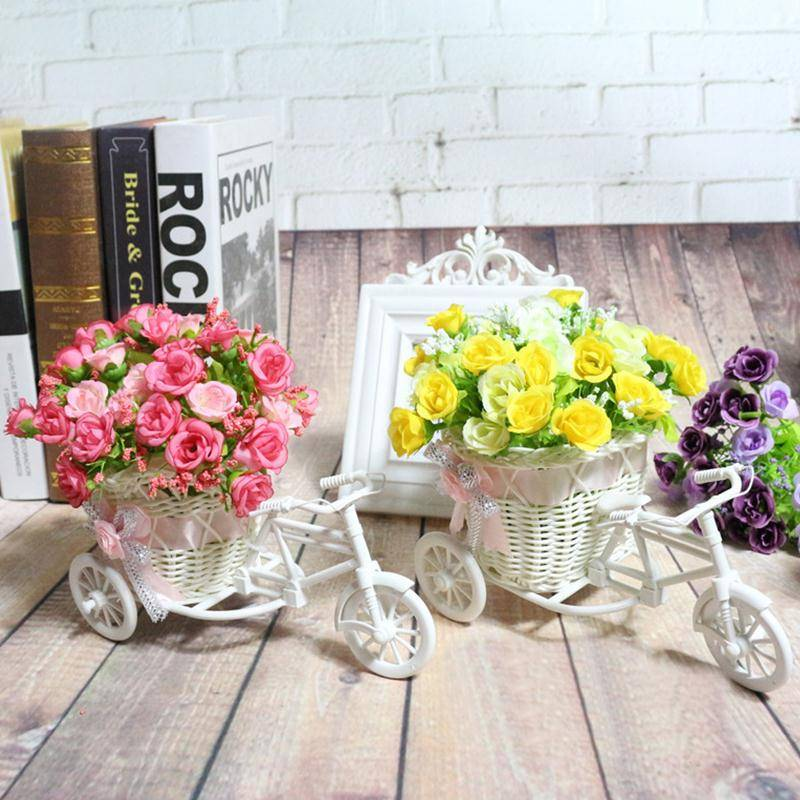 Rattan Tricycle Bike Flower Basket Office Vase Decoration