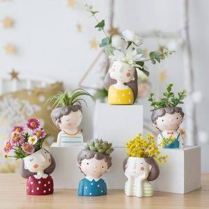 Girl Flowerpot Resin Vase Bonsai Office Vase