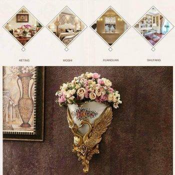 Wall Hanging Vase Decoration Swan Flower Basket Vases 4
