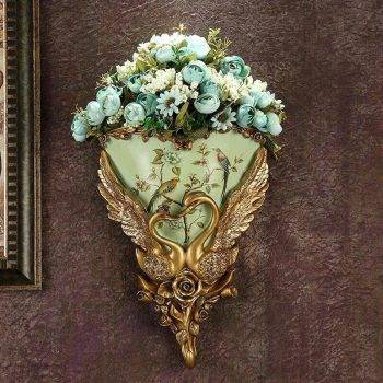 Wall Hanging Vase Decoration Swan Flower Basket Vases 2