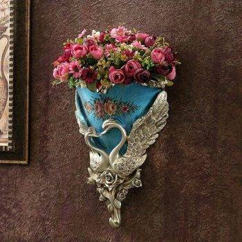 Wall Hanging Vase Decoration Swan Flower Basket Vases 3