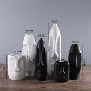 Ceramic White Vase Creative Head Shape Vases