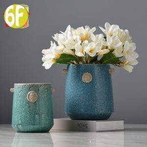 Blue Ceramic Vase Bottle Planter Decorative Vases