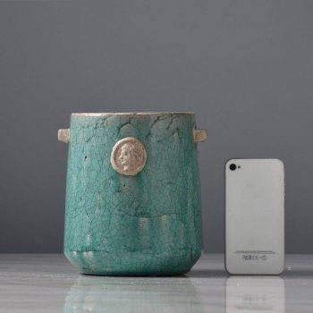Blue Ceramic Vase Bottle Planter Decorative Vases 3