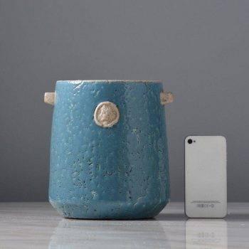 Blue Ceramic Vase Bottle Planter Decorative Vases 2