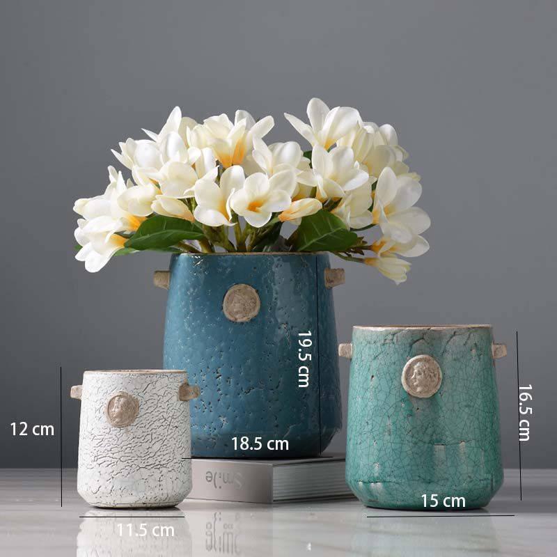 Blue Ceramic Vase Bottle Planter Decorative Vases