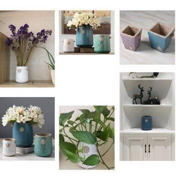 Blue Ceramic Vase Bottle Planter Decorative Vases 5
