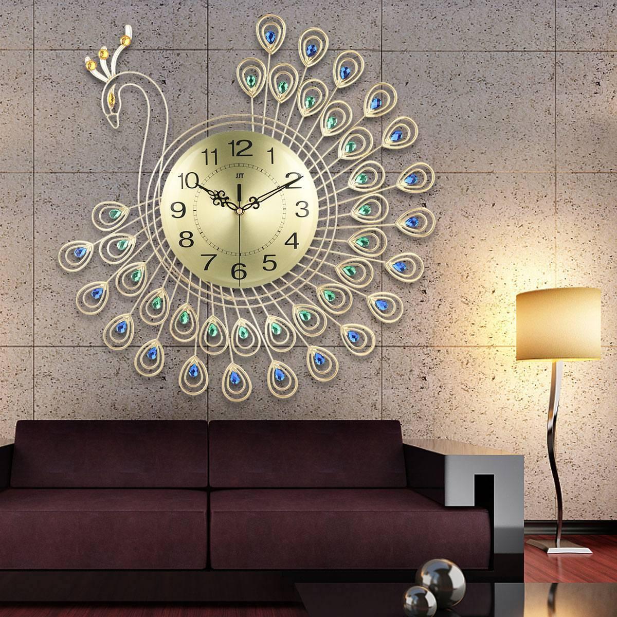 Large Gold Plastic Peacock Feather Wall Clock – DIY Clocks Ideas