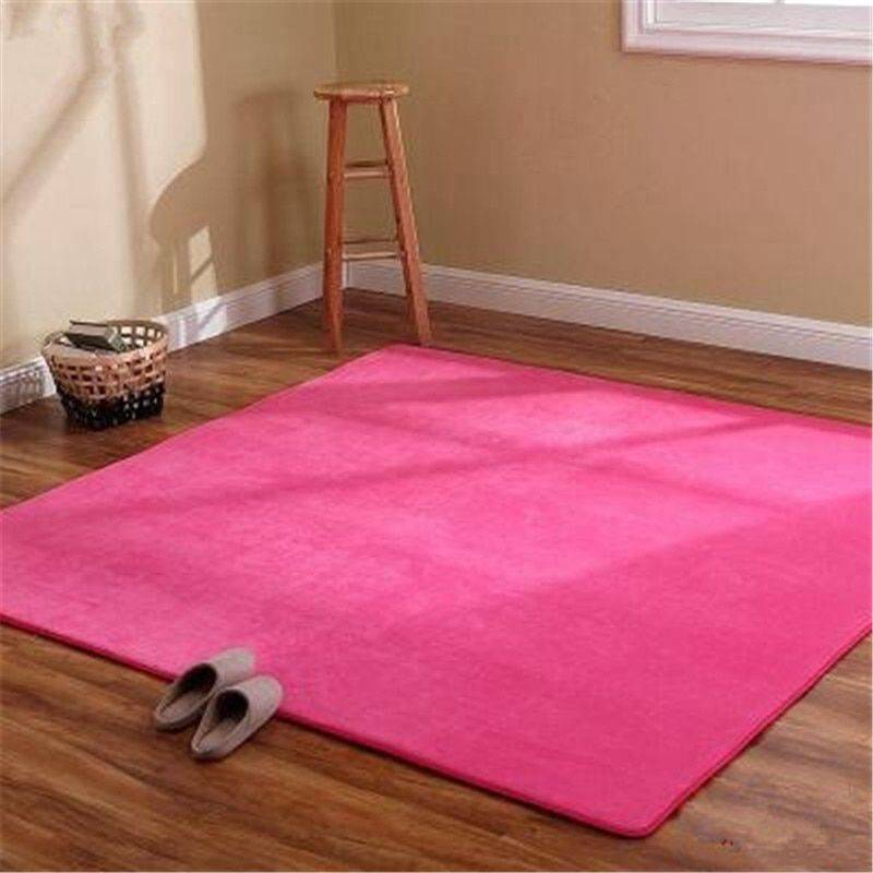 Thickened Modern Red/Gray/Green/Pink Velvet Washable Living Room Rug