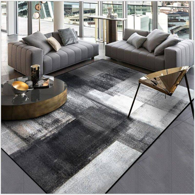 Modern Abstract Black/Gray Rug For Living Room/Bedroom/Kitchen