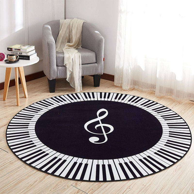 Round Black, White Anti Slip Music Symbol Rug For Living Room/Bedroom – Rugs Washable