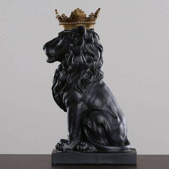 Lion Statue For Sale - Resin, Black/Gold/White - Sculpture Of Animal, Statue Of Animal, Home Decoration Accessories 3