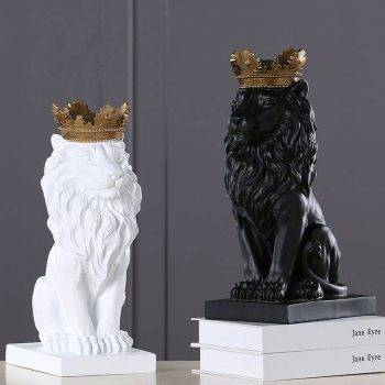 Lion Statue For Sale - Resin, Black/Gold/White - Sculpture Of Animal, Statue Of Animal, Home Decoration Accessories 2