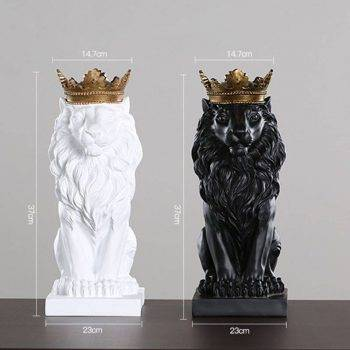 Lion Statue For Sale - Resin, Black/Gold/White - Sculpture Of Animal, Statue Of Animal, Home Decoration Accessories 4