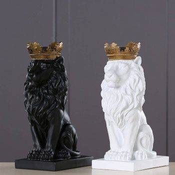 Lion Statue For Sale - Resin, Black/Gold/White - Sculpture Of Animal, Statue Of Animal, Home Decoration Accessories 1