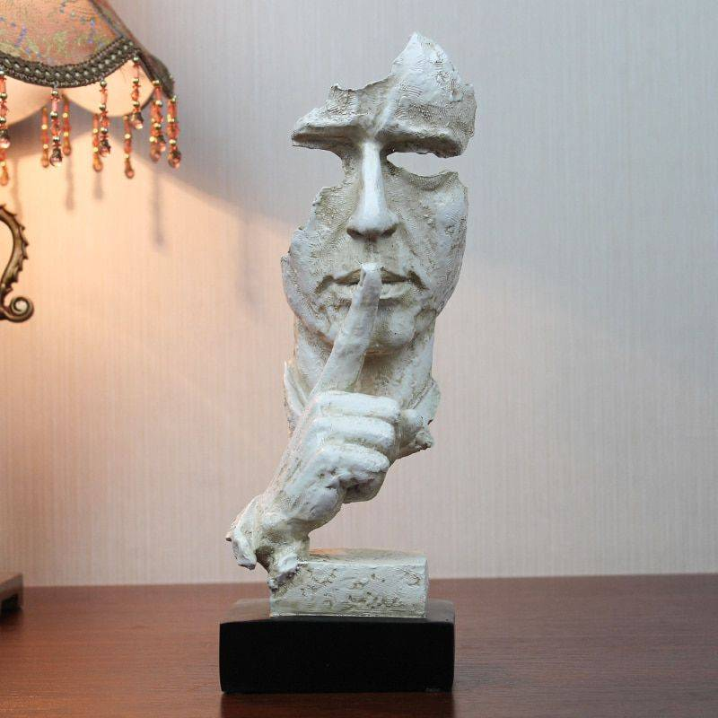 Modern Silver/Bronze/White Resin Silence Is Golden Statue – Art Of Sculpture