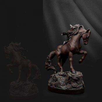Andalusian Horse Statue For Living Room - Resin, Stallion/Arabian/Percheron Horse Statuette, Animal Statues For Home Decor 4