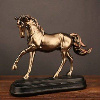 Vintage Gold Resin Horse Statue One Leg Up - Office Decoration Ideas 4