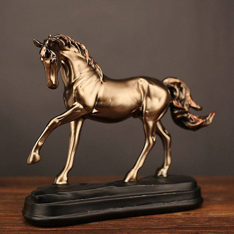 Vintage Gold Resin Horse Statue One Leg Up – Office Decoration Ideas