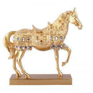 Gold/Silver Resin Horse Statue With One Leg Up – Decoration Accessories For Home