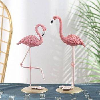 3 Style Pink Resin Flamingo Statue - Small Animal Statue 1