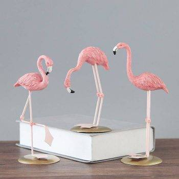 3 Style Pink Resin Flamingo Statue - Small Animal Statue 3