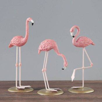 3 Style Pink Resin Flamingo Statue - Small Animal Statue 2