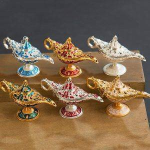 Metal Aladdin Genie Lamp For Living Room/Bedroom – Statue Decor For The Home