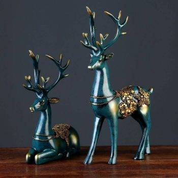 2 Pcs Small Resin Deer Statue For Home Decor - Modern Home Decoration Accessories 4