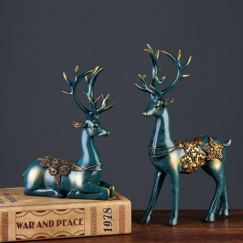 2 Pcs Small Resin Deer Statue For Home Decor – Modern Home Decoration Accessories