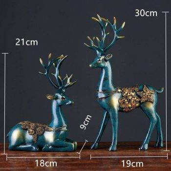 2 Pcs Small Resin Deer Statue For Home Decor - Modern Home Decoration Accessories 2