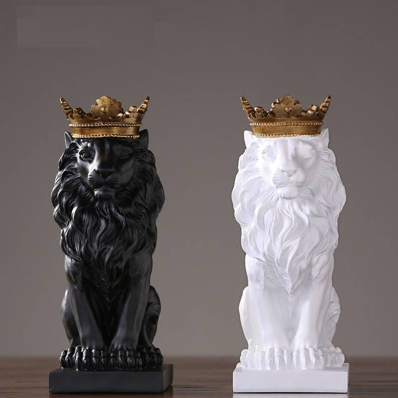 Lion Statue For Sale – Resin, Black/Gold/White – Sculpture Of Animal, Statue Of Animal, Home Decoration Accessories