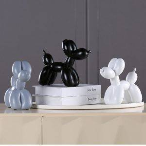 Modern Black/White/Red/Pink Resin Balloon Dog Statue – Sculpture Of Animal